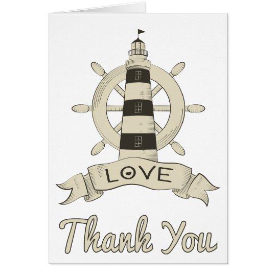 Nautical Tan Thank You Lighthouse & Ship Anchor Card