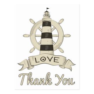 Nautical Tan Thank You Lighthouse & Ship Anchor Postcard
