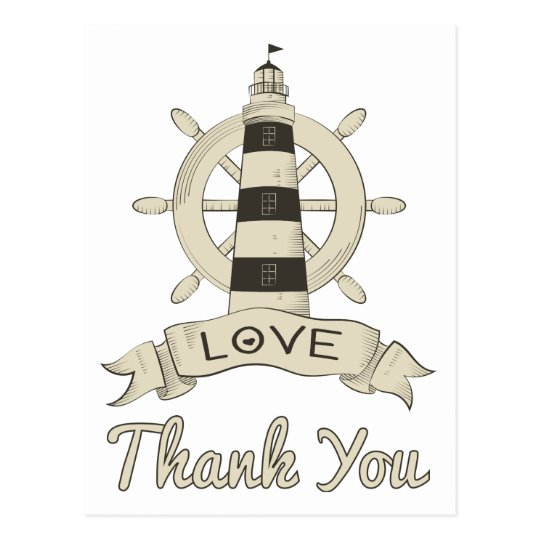 Nautical Tan Thank You Lighthouse & Ship Anchor Postcard