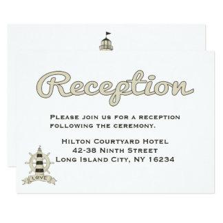 Nautical Tan Wedding Reception Lighthouse Ship Card