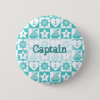 Nautical teal mint white checkered 2 inch round button
