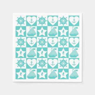 Nautical teal mint white checkered disposable napkins