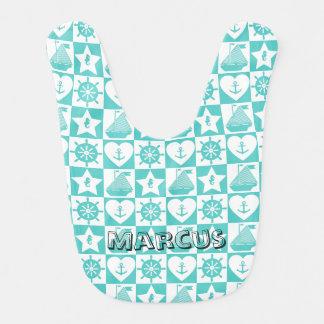Nautical teal mint white checkered pattern bib
