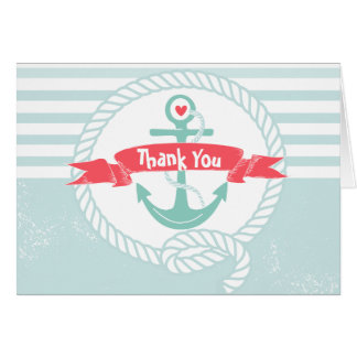 Nautical Thank You Card with Anchor and Rope