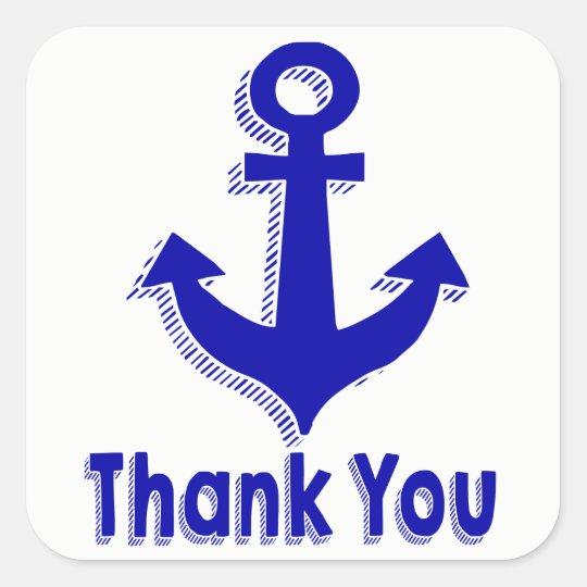 Nautical Thank You Navy Blue Ship Anchor Square Sticker