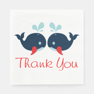 Nautical Thank You Navy Red Whales Wedding Beach Disposable Napkins