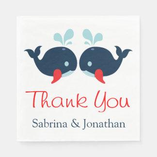 Nautical Thank You Navy Red Whales Wedding Beach Paper Napkin