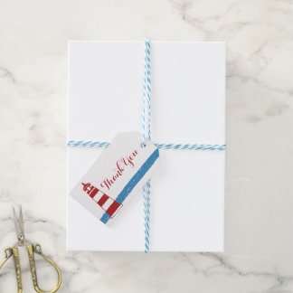 Nautical Thank You Red Lighthouse Blue Stripes Pack Of Gift Tags