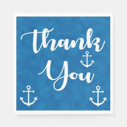 Nautical Thank You Ship Anchor Blue Watercolor Disposable Napkins