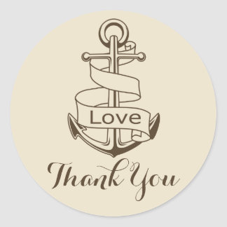 Nautical Thank You Ship Anchor Tan  Brown Wedding Classic Round Sticker