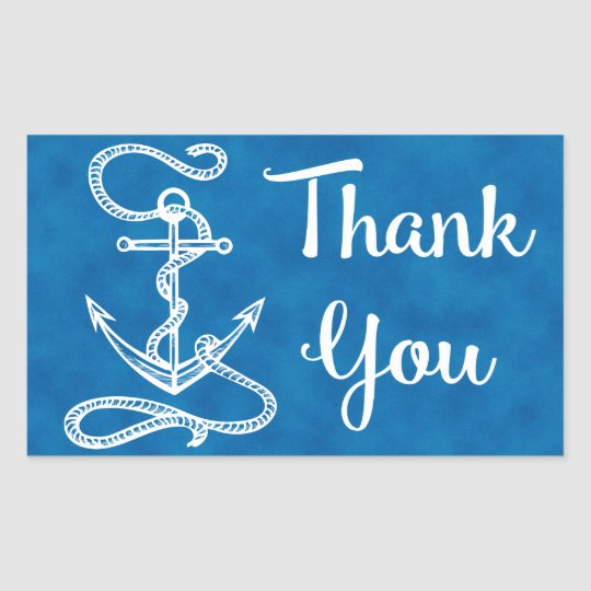 Nautical Thank You Ship Anchor Watercolor Blue
