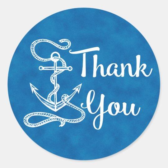 Nautical Thank You Ship Anchor Watercolor  Blue Round Sticker