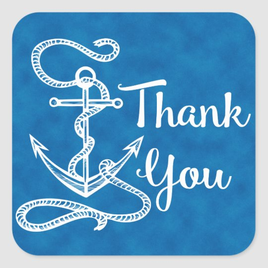 Nautical Thank You Ship Anchor Watercolor Blue Square Sticker