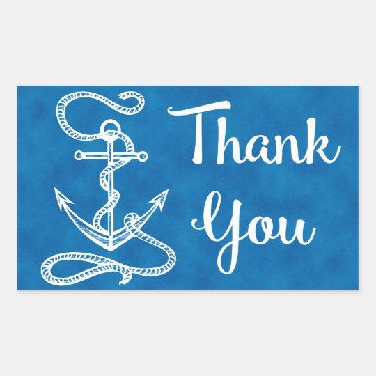 Nautical Thank You Ship Anchor Watercolor Blue Sticker