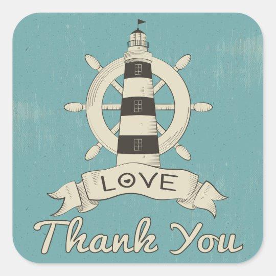 Nautical Thank You Tan Lighthouse & Ship Anchor Square Sticker