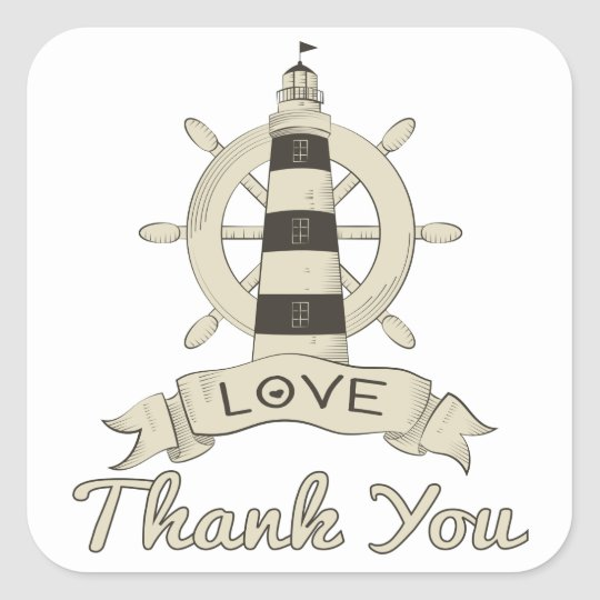 Nautical Thank You Tan Lighthouse & Ship Anchor Square Sticker