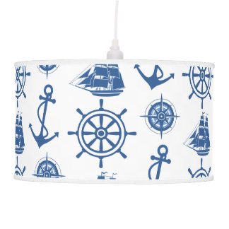 Nautical Theme Anchor Blue and White Pendant Lamp