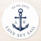 Nautical Theme Anchor Custom Monograms Round Paper Coaster