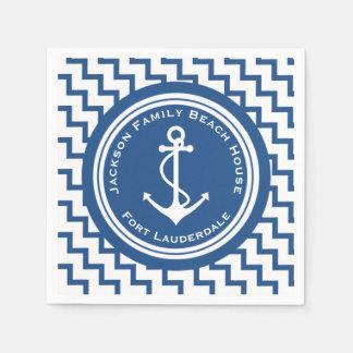 Nautical Theme Anchor Family Beach House Party Paper Napkin