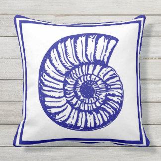 Nautical Theme Beautiful Clean design blue Seashel Throw Pillow