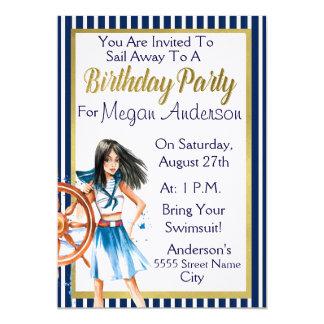 "Nautical Theme Birthday Party 5"" X 7"" Invitation Card"