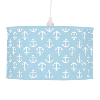 Nautical Theme Coastal Blue White Anchor Pattern Pendant Lamp