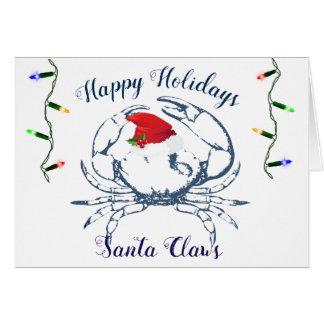 Nautical Theme Crab Holiday Card Santa Claws