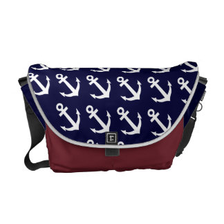 Nautical theme messenger bag with anchor pattern
