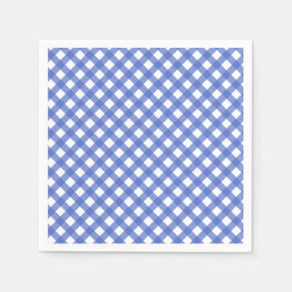 Nautical Theme - Navy Blue Gingham Paper Napkins