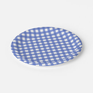 Nautical Theme - Navy Blue Plaid Paper Plate