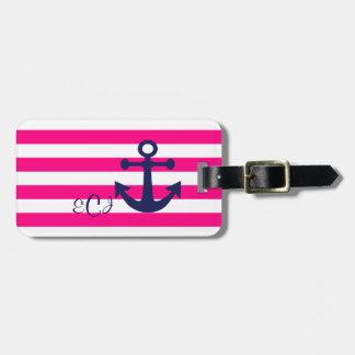 Nautical Theme Pink White Stripes Luggage Tag