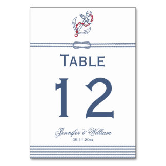 Nautical Theme with Anchor Wedding Table Number