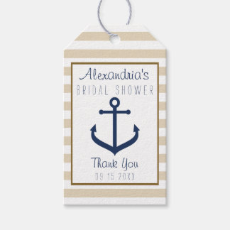 Nautical themed Bridal Shower Favor Tags Pack Of Gift Tags