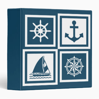 Nautical themed design 3 ring binders