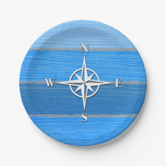 Nautical themed design 7 inch paper plate