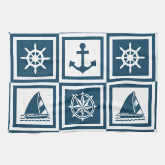 Nautical themed design kitchen towel
