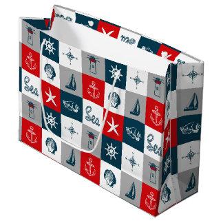 Nautical themed design large gift bag