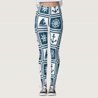Nautical themed design leggings