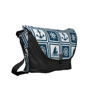 Nautical themed design messenger bags
