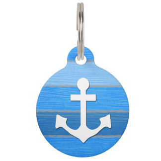 Nautical themed design pet ID tag