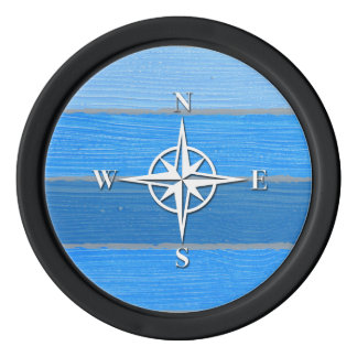 Nautical themed design poker chips set