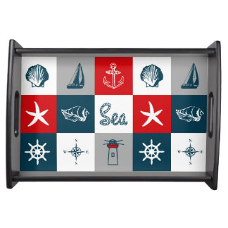 Nautical themed design serving tray