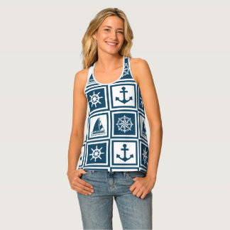 Nautical themed design tank top