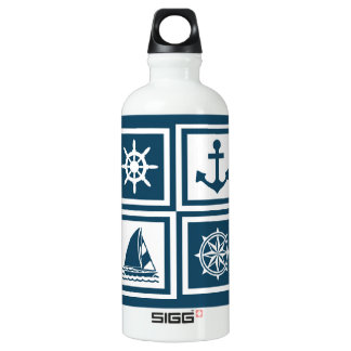 Nautical themed design water bottle