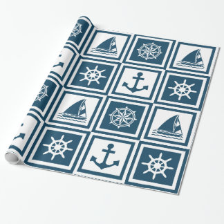 Nautical themed design wrapping paper