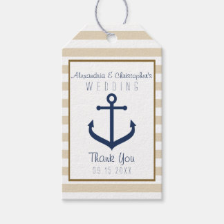 Nautical themed Wedding Favor Tags - Thank You
