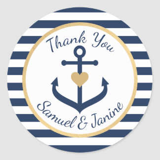 Nautical themed Wedding Thank You Stickers