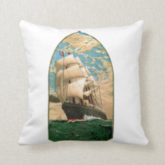 Nautical Themed with Vintage Sailboat Throw Pillow