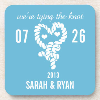 Nautical Tie the Knot Blue Wedding Drink Coasters