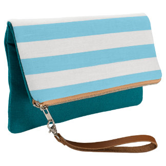 Nautical Turquoise and White Stripes Clutch